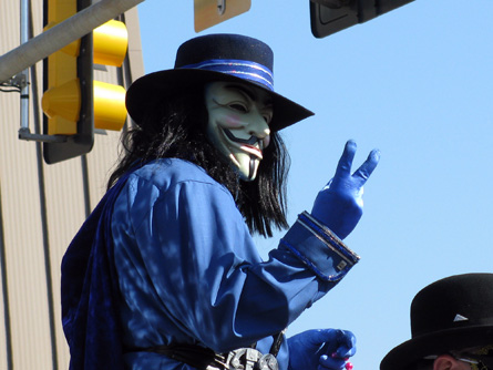 Guy Fawkes giving the V.